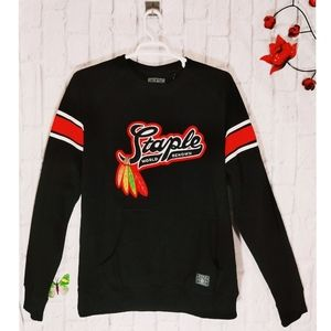 Staple Patch Graphic Spell Out Pullover Sweatshirt